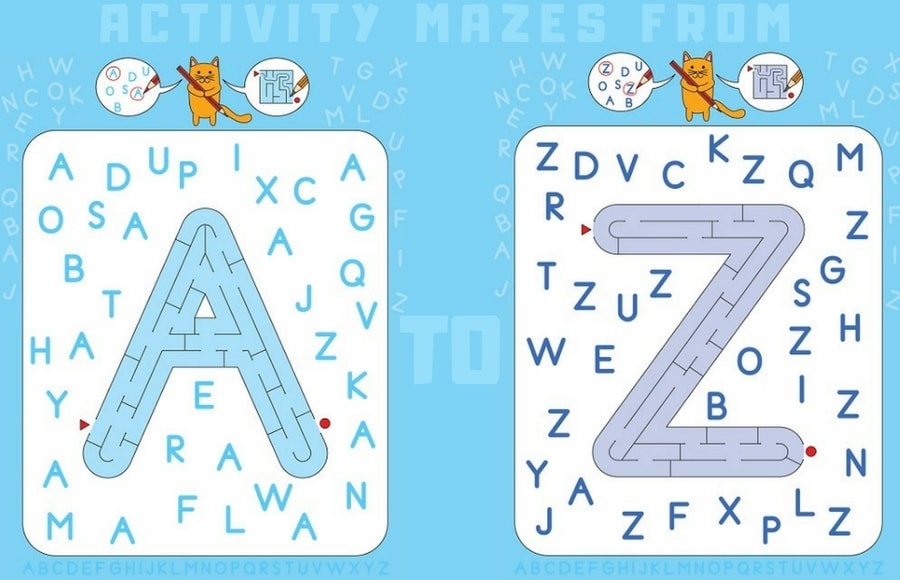 Downloadable Letter Maze Activities for Kids